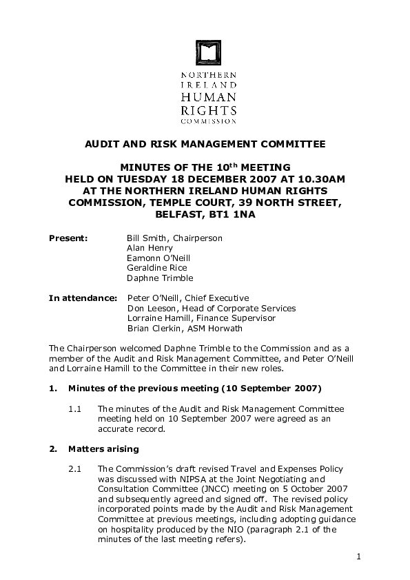 10th Audit and Risk Management Committee Minutes 18th December 2007