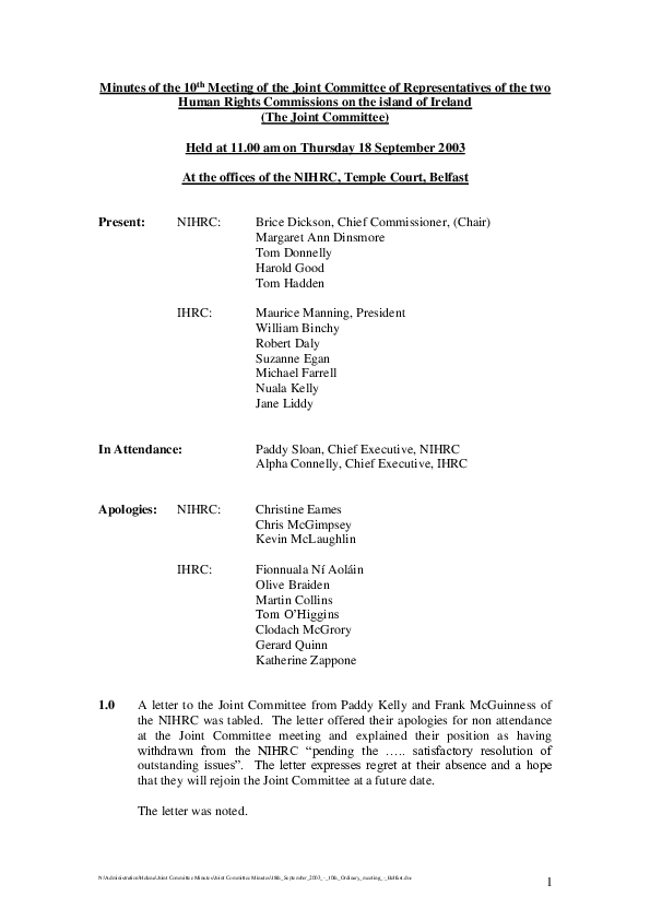 10th Joint Commission Minutes 18th September 2003