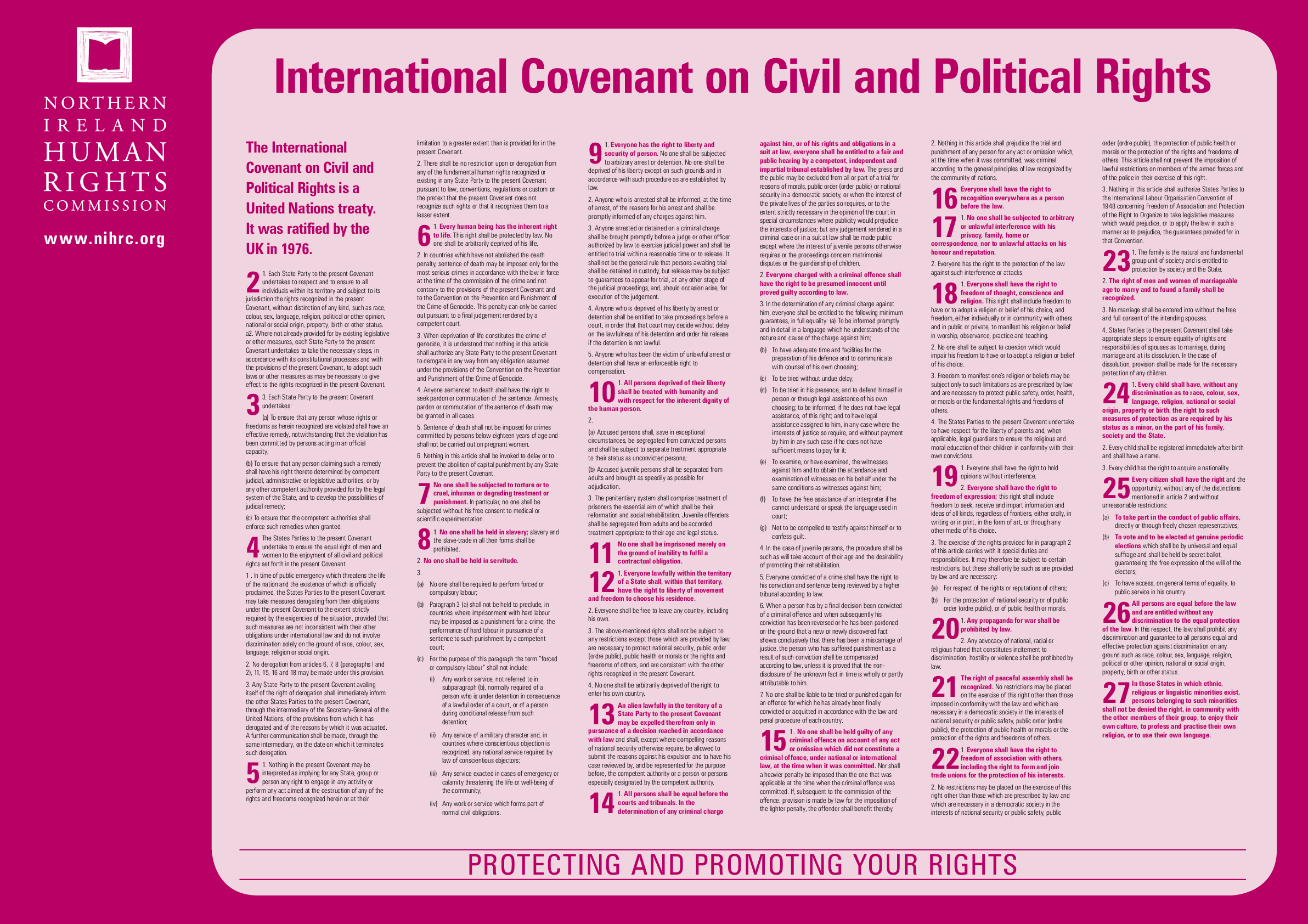 International Covenant on Civil and Political Rights (ICCPR) Poster - resource 1