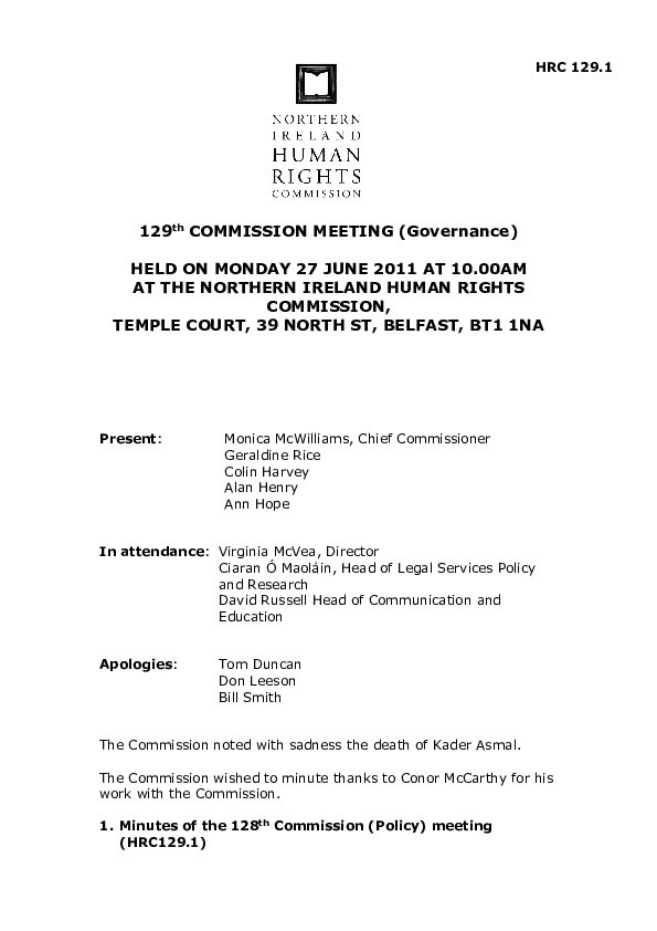 129th Commission Minutes 27th June 2011