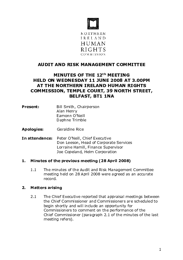 12th Audit and Risk Management Committee Minutes 11th June 2008