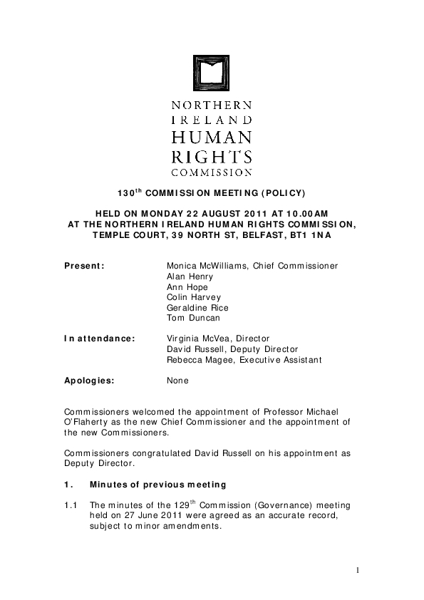 130th Commission Minutes 22nd August 2011