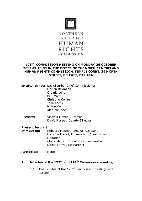 175th Commission Minutes 26th October 2015