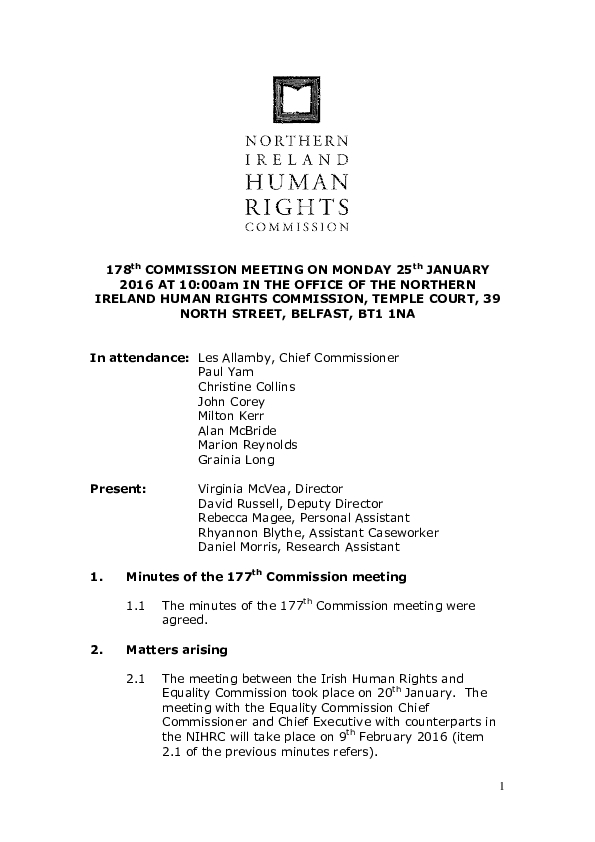 178th Commission Minutes 25th January 2016