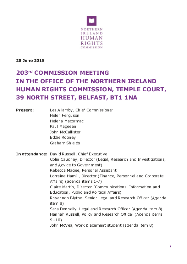 203rd Commission Minutes 25th June 2018