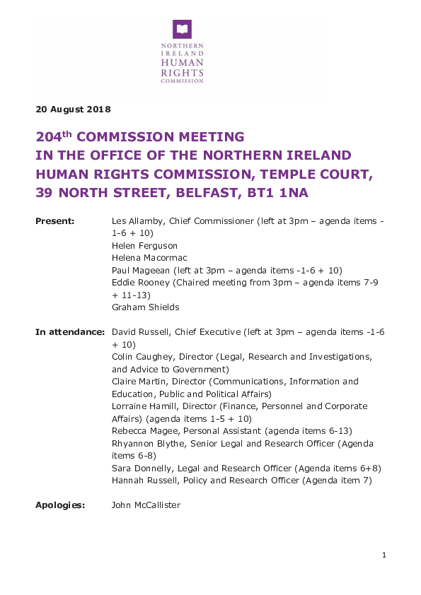 204th Commission Minutes 20th August 2018