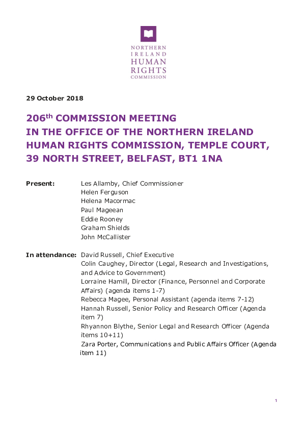 206th Commission Minutes 29th October 2018