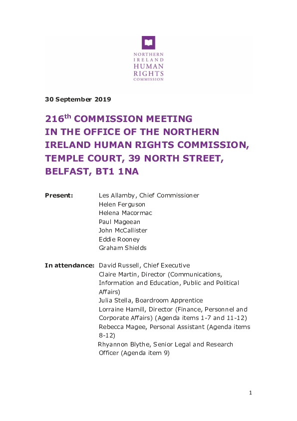 216th Commission Meeting 30 September 2019