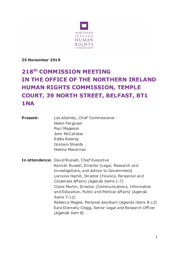 218th Commission Meeting 25 November 2019