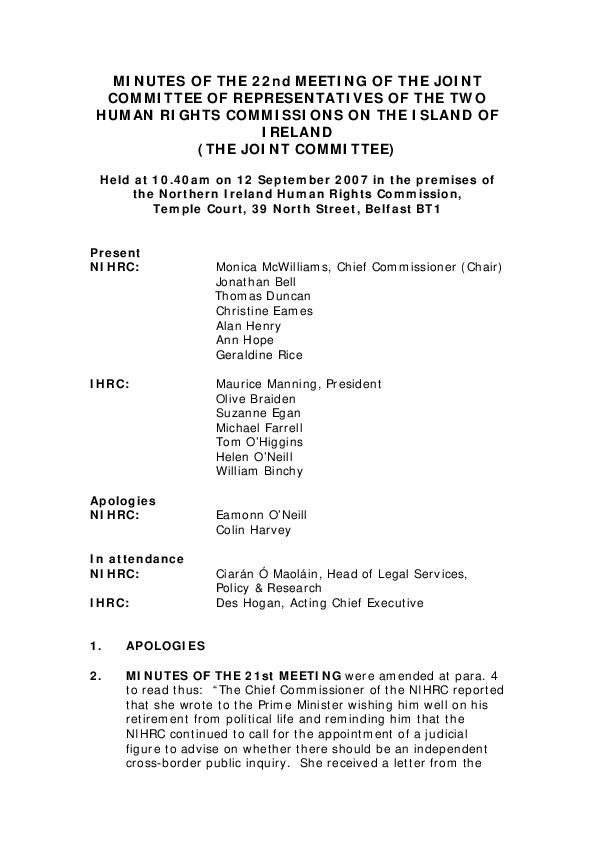 22nd Joint Commission Minutes 12th September 2007