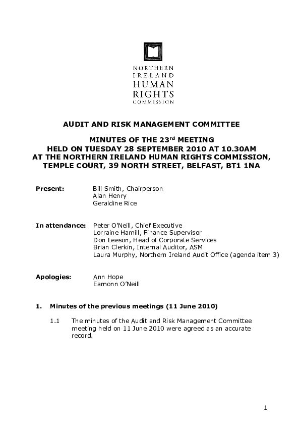 23rd Audit and Risk Management Committee Minutes 28th September 2010