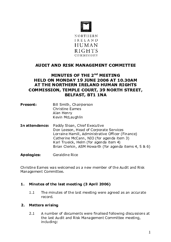 2nd Audit and Risk Management Committee Minutes 19th June 2006