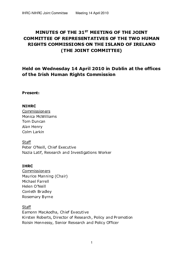 31st Joint Commission Minutes 14th April 2010