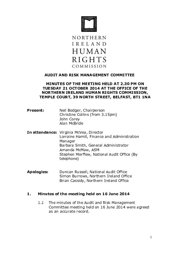 38th Audit and Risk Management Committee Minutes 21st October 2014