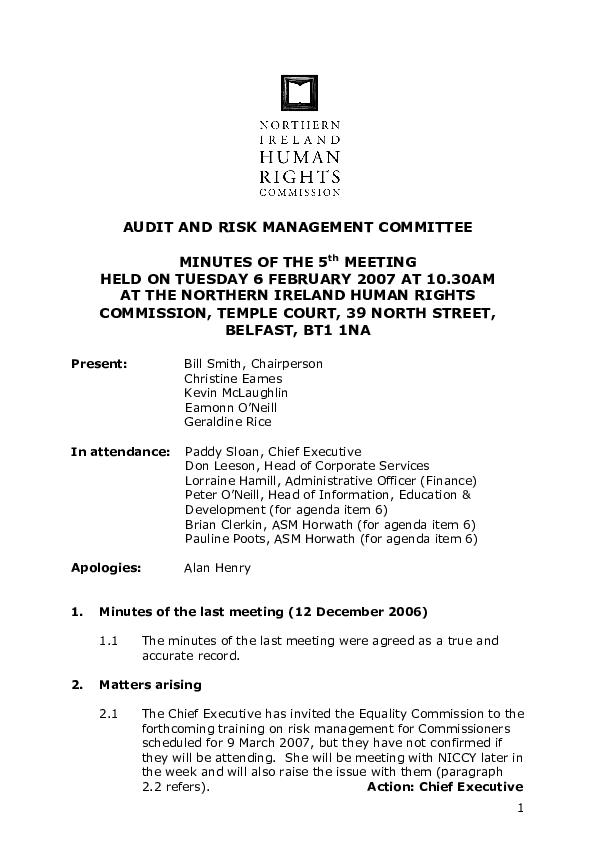 5th Audit and Risk Management Committee Minutes 6th February 2007