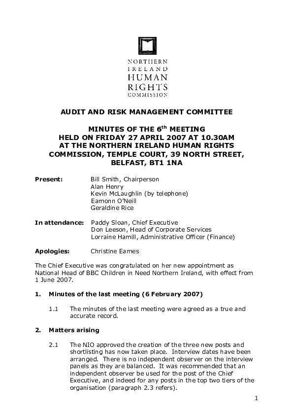 6th Audit and Risk Management Committee Minutes 27th April 2007
