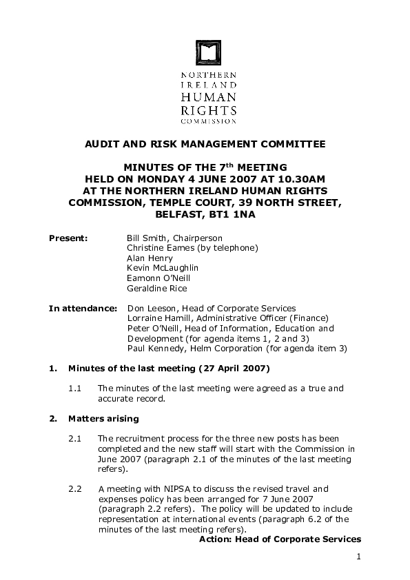 7th Audit and Risk Management Committee Minutes 4th June 2007