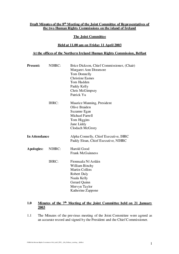 8th Joint Commission Minutes 11th April 2003