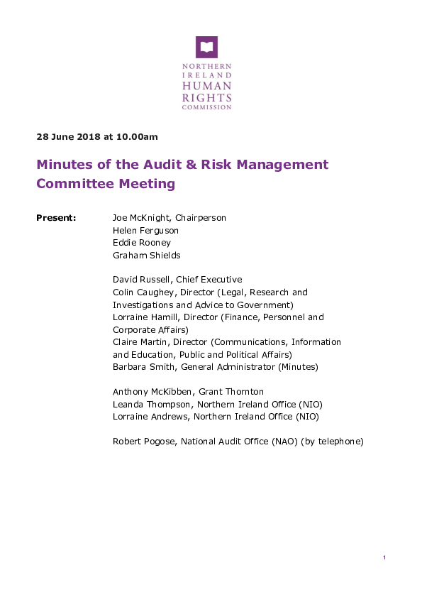 56th Audit and Risk Management Committee Minutes 28th June 2018