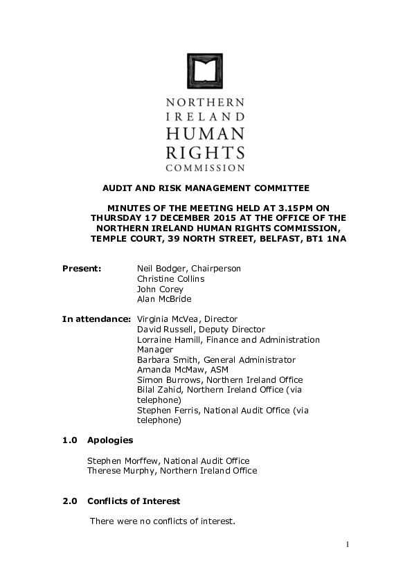 43rd Audit and Risk Management Committee Minutes 17th December 2015