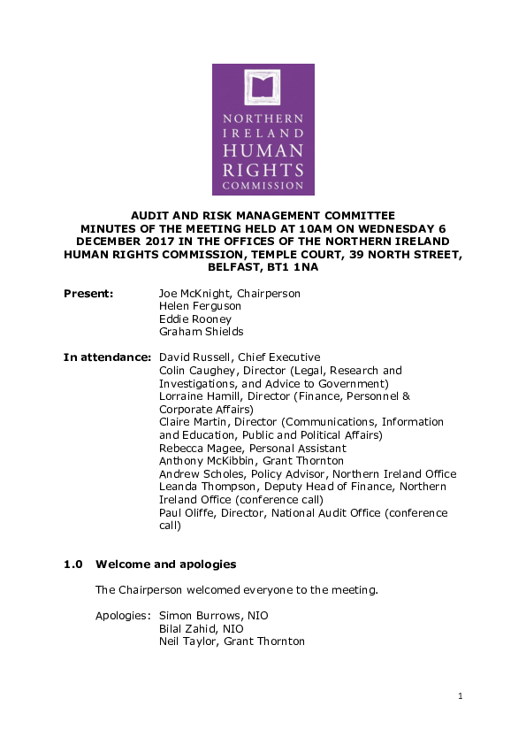 54th Audit and Risk Management Committee Minutes 6th December 2017