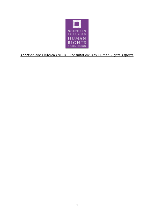 Response to the Adoption and Children (NI) Bill Consultation