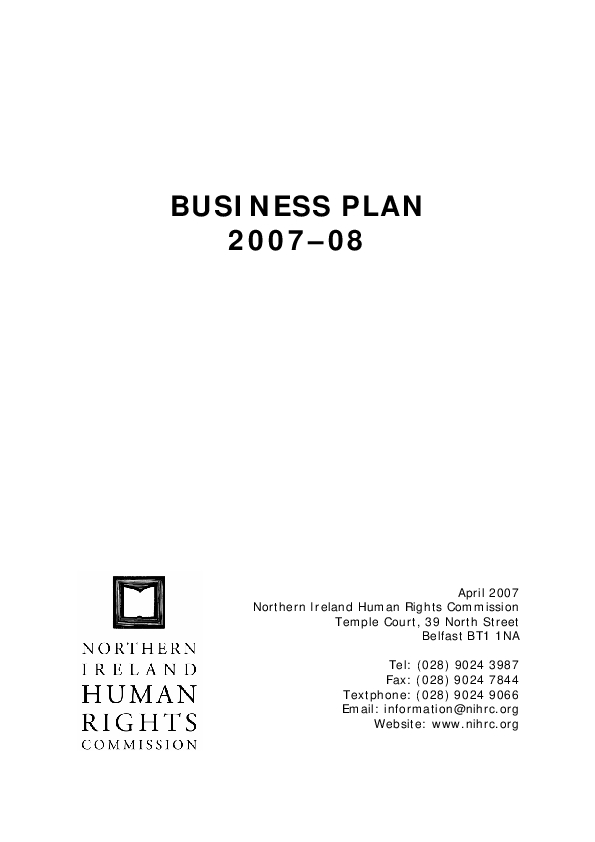 Our Business Plan 2007-2008