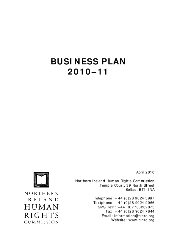 Our Business Plan 2010-2011