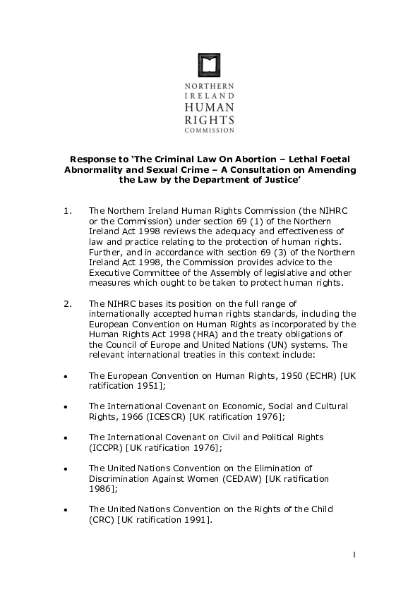 Response to the DOJ Consultation on 'The Criminal Law on Abortion'-Lethal Foetal Abnormality and Sexual Crime