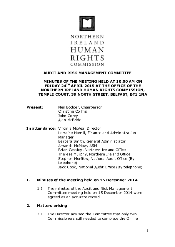 40th Audit and Risk Management Committee Minutes 24th  April 2015