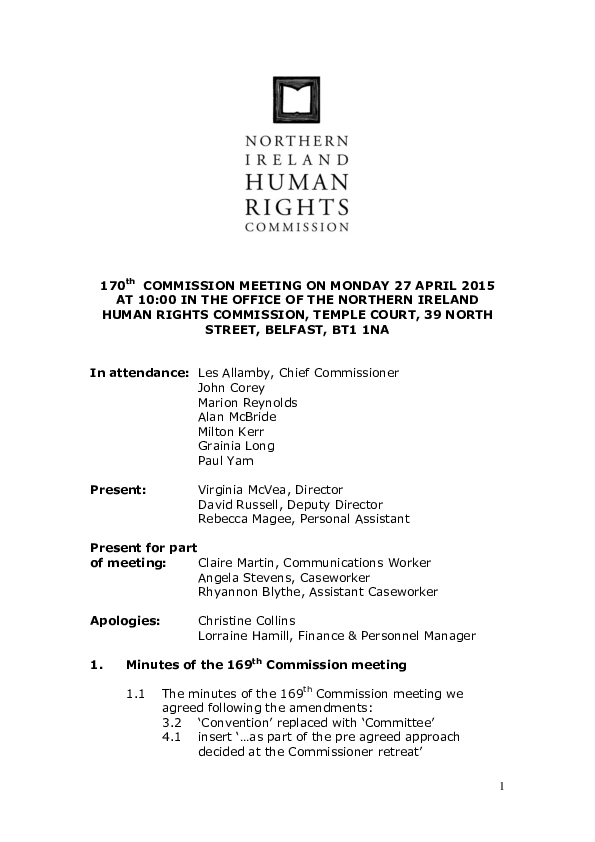 170th Commission Minutes 27th April 2015