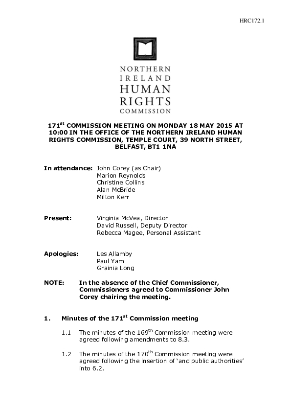 171st Commission Minutes 18th May 2015