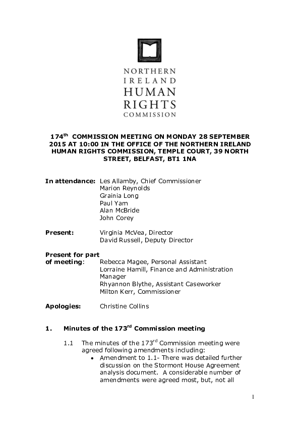 174th Commission Minutes 28th September 2015
