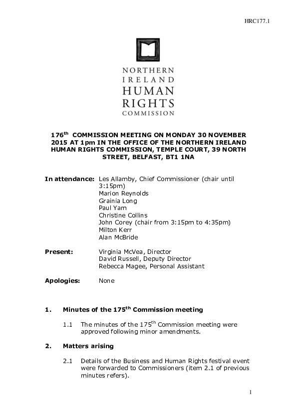 176th Commission Minutes 30th November 2015
