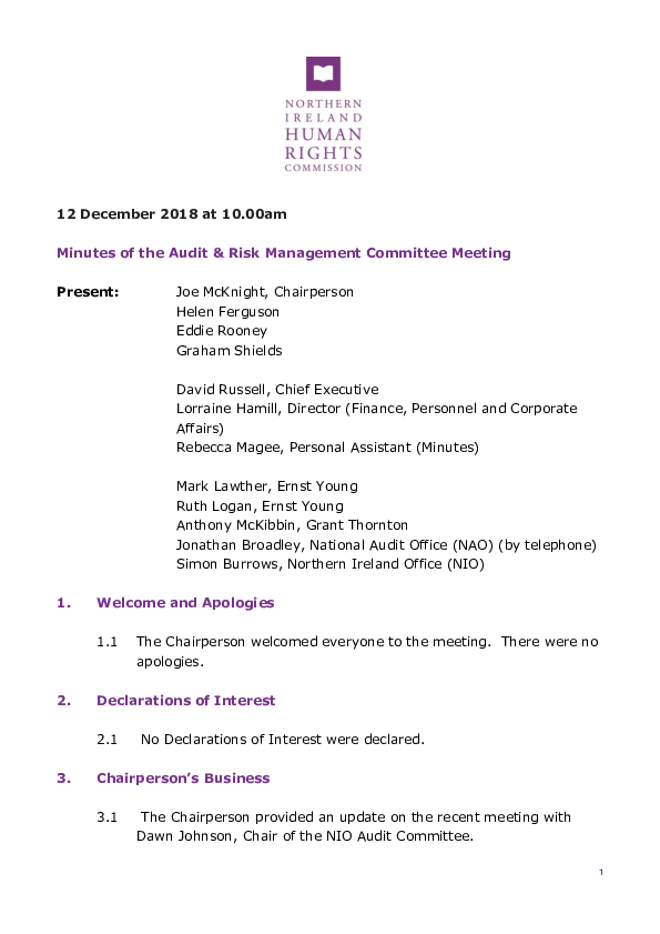 58th Audit and Risk Management Committee Minutes 12th December 2018