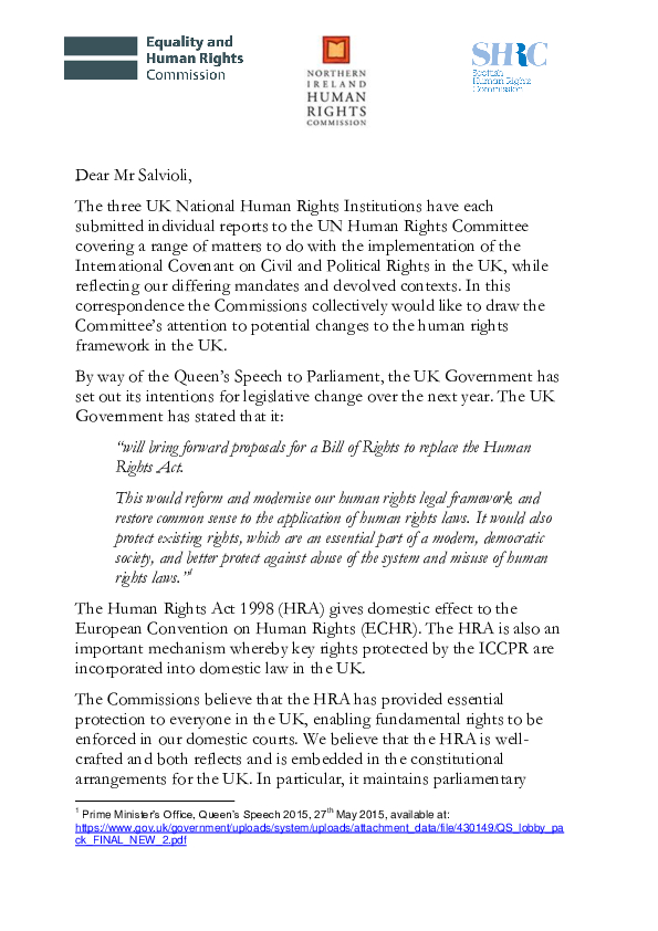 NIHRI Joint Letter United Nations Human Rights Committee on the potential changes to the human rights framework in the UK