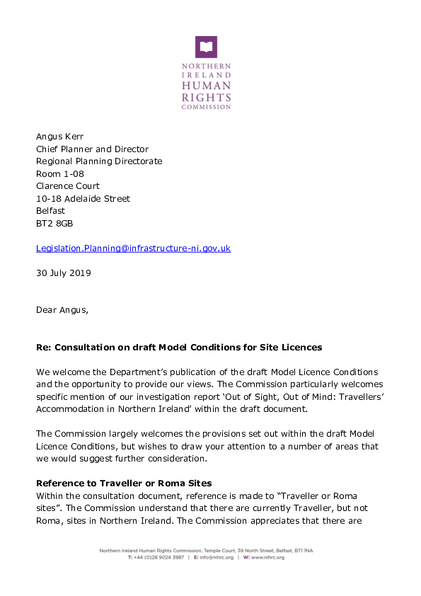 NIHRC response to the consultation on the draft Model Conditions for Site Licences