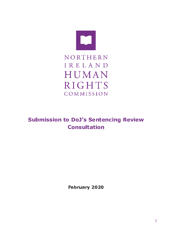 Submission to Department of Justice Sentencing Review Consultation