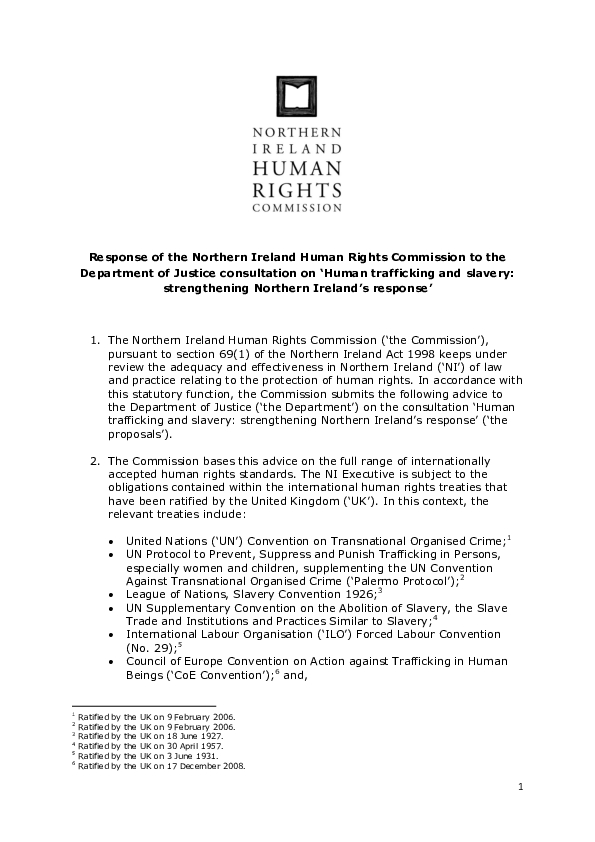 Consultation on Human trafficking and slavery