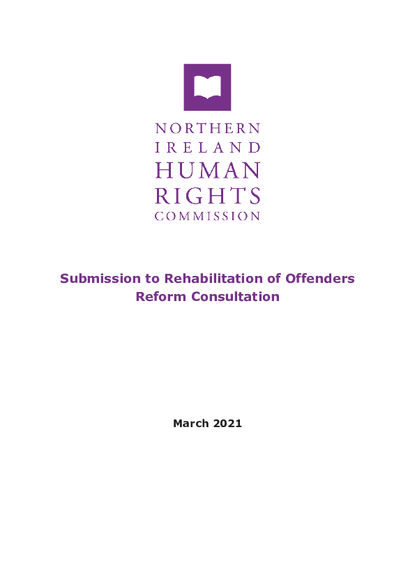 Rehabilitation of Offenders Reform Consultation PDF