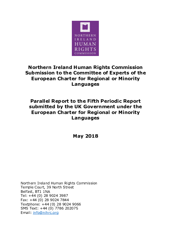 Submission to the Committee of Experts of the European Charter for Regional or Minority Languages