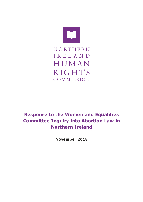 NIHRC response to the Women and Equalities Committee Inquiry into Abortion Law in NI