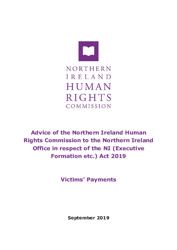 Advice to the Northern Ireland Office on victims' payments