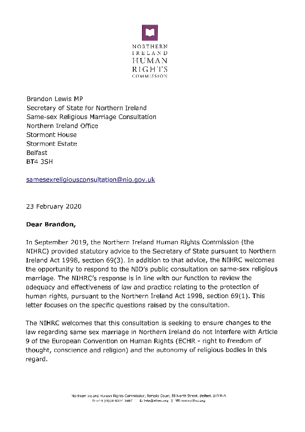 NIHRC response to the Northern Ireland Office consultation on same-sex religious marriage