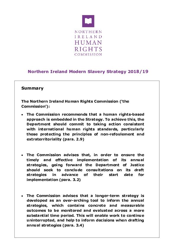 NIHRC Response to the draft Northern Ireland Modern Slavery Strategy 2018/19