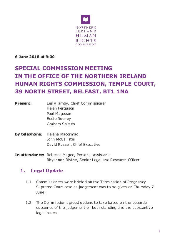 Special Commission Minutes 6th June 2018