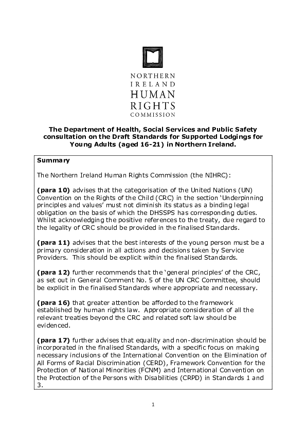 "Response to the DHSSPS Consultation on ""Draft Standards for Supported Lodgings for Young Adults"""