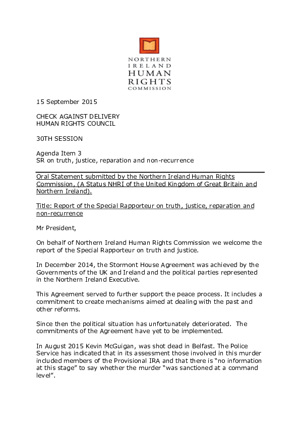Statement on Report of the Special Rapporteur on Truth, Justice, Reparation and Non-Recurrence