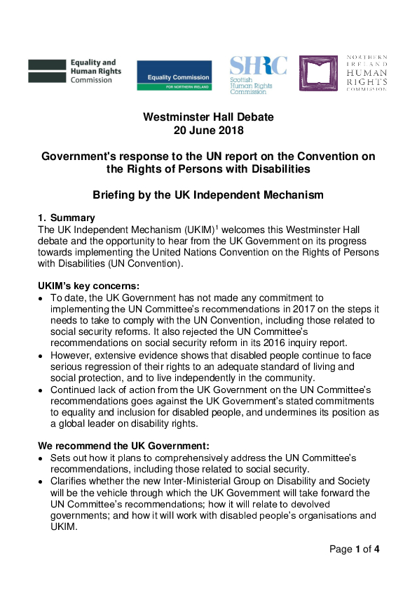 UK Independent Mechanism: Parliamentary Briefing on UK Government response to UN Report on CRPD