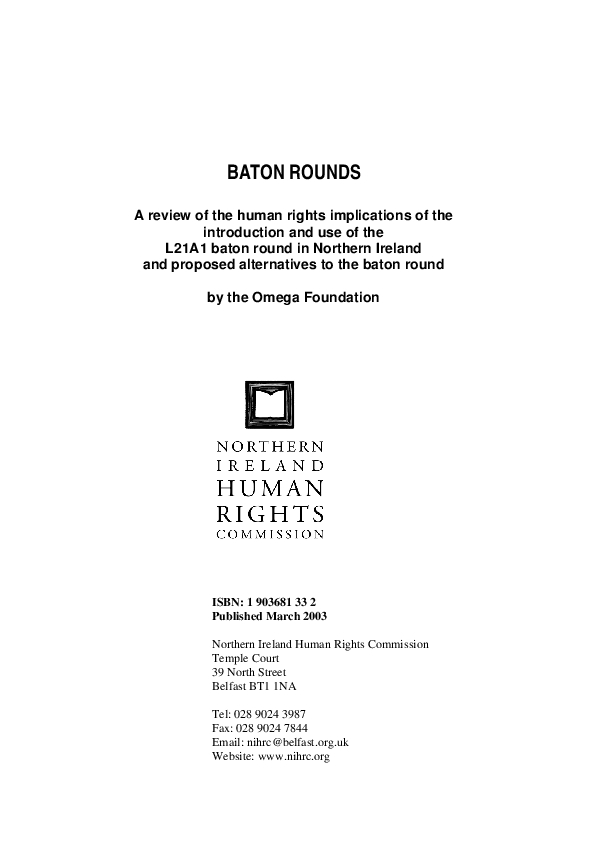 Baton Rounds Review Human Rights Framework